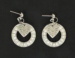 Lightning Ridge Rhinestone Circle & Heart Charm Earrings, , hi-res