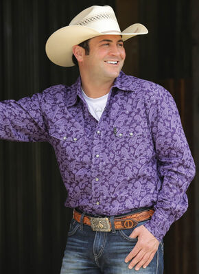 Cinch Men's Purple Modern Fit Long Sleeve Shirt , Purple, hi-res