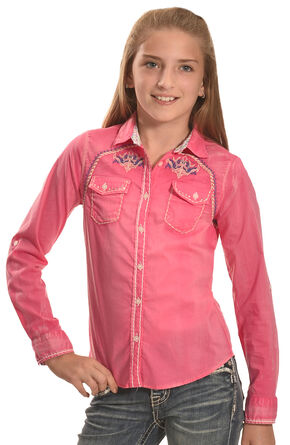 Cowgirl Legend Girls' Pink Wash Embroidered Western Shirt , Pink, hi-res