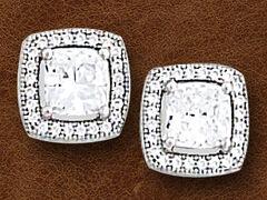 Kelly Herd Women's Sterling Silver Square Bezel Set Pave Earrings, , hi-res
