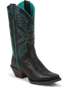 Justin Silver Turquoise Stitched Cowgirl Boots - Snip Toe, , hi-res