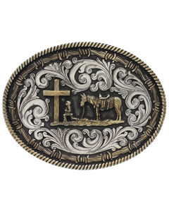 Montana Silversmiths Two-Tone Classic Impressions Christian Cowboy Attitude Belt Buckle, , hi-res