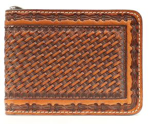 Nocona Basketweave Barbed Wire Embossed Bi-Fold Wallet, Brown, hi-res