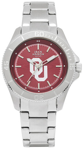 Jack Mason Women's Oklahoma Team Color Dial Sport Bracelet Watch , Silver, hi-res
