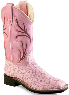 Old West Girls' Pink Scroll Western Boots - Square Toe, , hi-res