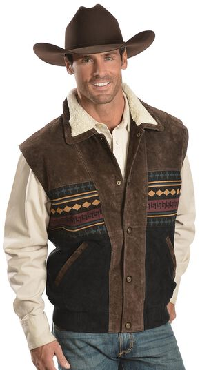 Vintage Leather Sherpa Lined Aztec Vest, Brown, hi-res