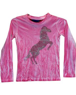 Cowgirl Hardware Girls' Aztec Horse Tie Dye Long Sleeve Tee, Pink, hi-res