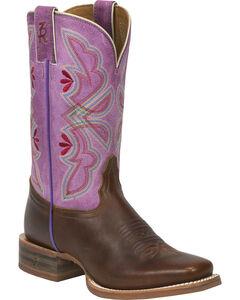 Tony Lama Cognac Crockett 3R Stockman Cowgirl Boots - Square Toe , , hi-res
