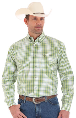 Wrangler George Strait Men's Long Sleeve Green Checkered Button Shirt - Big and Tall, Green, hi-res