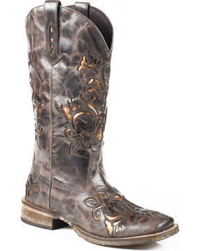 Roper Belle Sanded Metallic Underlay Cowgirl Boots - Square Toe, Brown, hi-res