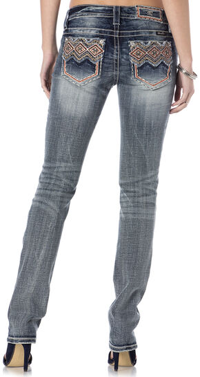 Miss Me Tribal Print Pocket Whiskered Jeans - Straight Leg , Indigo, hi-res