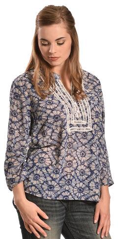 Tantrums Women's Blue Floral Crochet Peasant Top - Plus, , hi-res