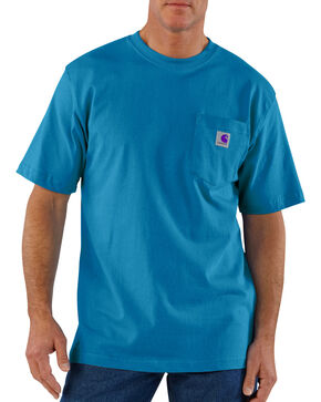 Carhartt Men's Short Sleeve Pocket Work T-Shirt, Turquoise, hi-res