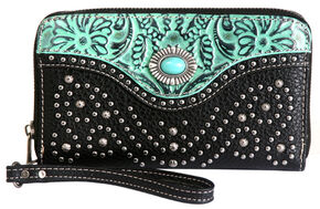 Montana West Trinity Ranch Turquoise Tooled Design Wallet, Black, hi-res