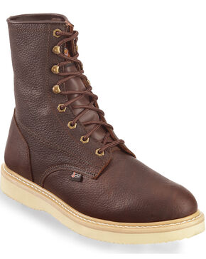 "Justin Original Wedge 8"" Lace-Up Work Boots, Tan, hi-res"