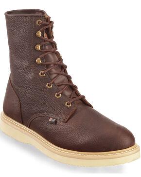 "Justin Original Wedge 8"" Lace-Up Work Boots, Tan, hi-res"