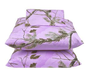 Realtree Lavender Camo X-L Twin Sheet Set, Camouflage, hi-res