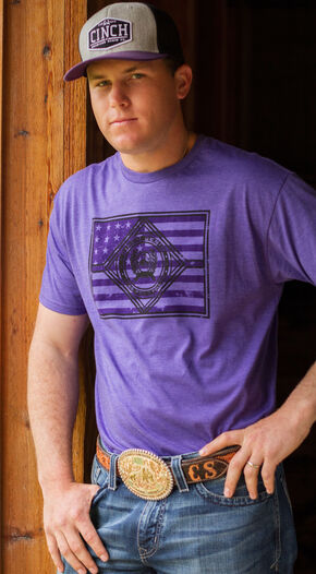 Cinch Men's Purple Logo Front Short Sleeve Tee, Purple, hi-res