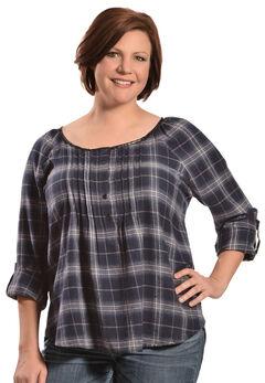 Red Ranch Women's Blue Plaid Pleather Trim Flannel Top - Plus, , hi-res