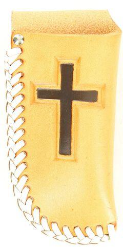 Nocona Leather Laced Cross Knife Sheath, Natural, hi-res