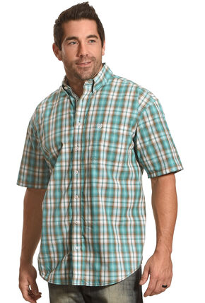 Panhandle Men's Evanston Ombre Plaid Short Sleeve Shirt, Blue, hi-res
