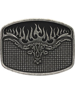 Montana Silversmiths Men's Flaming Longhorn Attitude Buckle, , hi-res