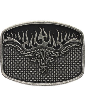 Montana Silversmiths Men's Flaming Longhorn Attitude Buckle, Antique Silver, hi-res