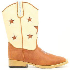 Double Barrel Boys' Lone Star Cowboy Boots - Square Toe, Brown, hi-res