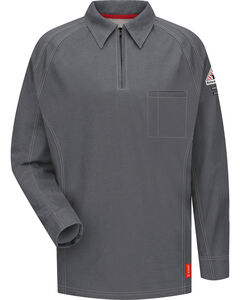 Bulwark Men's Grey iQ Series Flame Resistant Long Sleeve Polo - Big & Tall , , hi-res