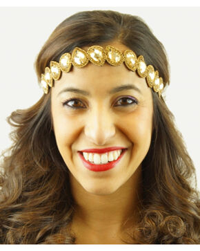 Pink Pewter Gold Hand Beaded Millie Stretch Headband, Gold, hi-res