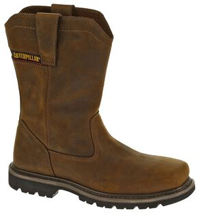 Caterpillar Wellston Pull-On Work Boots - Square Toe, Dark Brown, hi-res