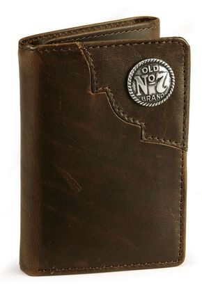 Jack Daniel's Tri-Fold Leather Wallet, Brown, hi-res