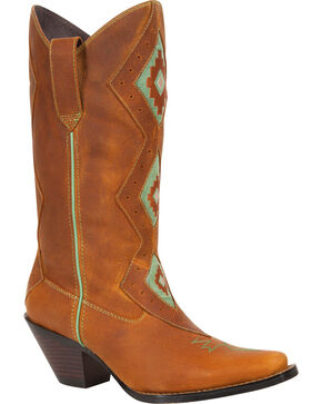 Durango Women's Tribal Western Cowgirl Boots - Square Toe, Lt Tan, hi-res