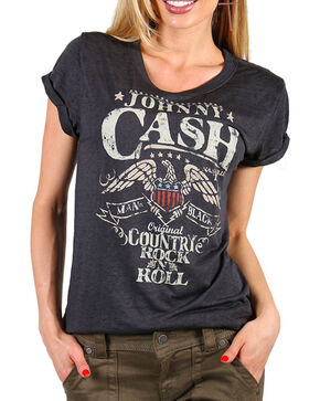 Zion Rootswear Women's Johnny Cash Graphic Tee, Black, hi-res