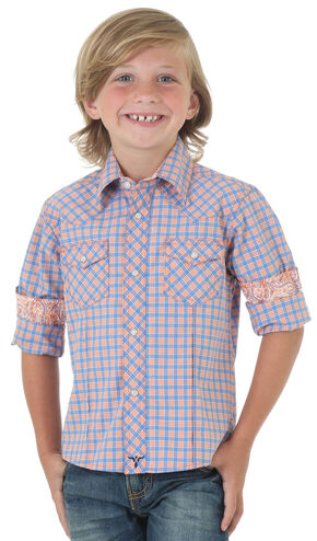 Wrangler 20X®  Boys' Orange Plaid Long Sleeve Competition Shirt , Orange, hi-res