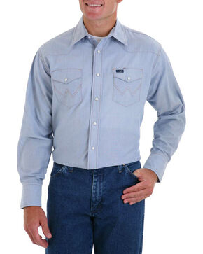 Wrangler Men's Blue Authentic Cowboy Cut Shirt , , hi-res