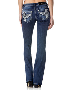 Miss Me Women's Divine Beauty Mid Rise Boot Cut Jeans, Indigo, hi-res