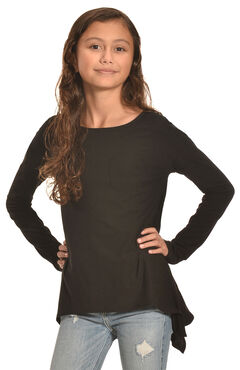 Derek Heart Girls' Solid Black Super Soft Yummy Sharkbite Tunic, , hi-res
