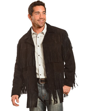Liberty Wear Men's Suede Fringe Western Jacket , Black, hi-res