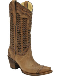Corral Braided Shaft Cowgirl Boots - Snip Toe, , hi-res