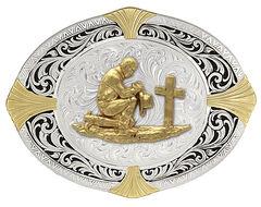 Montana Silversmiths High Plains Cardinal Points Christian Cowboy Belt Buckle, , hi-res