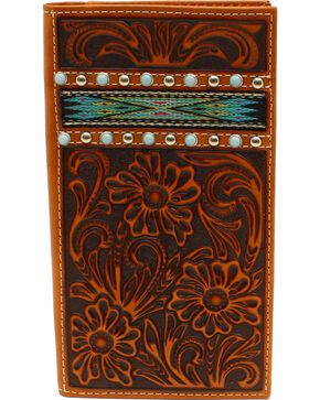 Ariat Men's Rodeo Ribbon Strip Turquoise Stone Wallet, Tan, hi-res