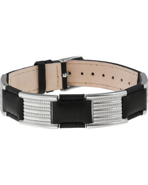 Sabona of London Black Leather Dress Stainless Magnetic Bracelet, Black, hi-res