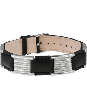 Sabona of London Black Leather Dress Stainless Magnetic Bracelet, Black, hi-res