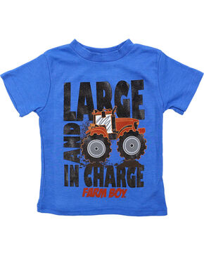 Farm Boy Toddler Boys' Large and In Charge T-Shirt, Blue, hi-res