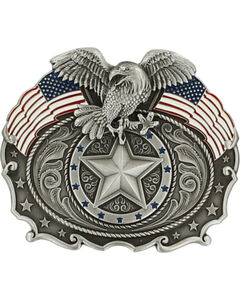 Nocona Men's American Flag & Bald Eagle Belt Buckle, , hi-res