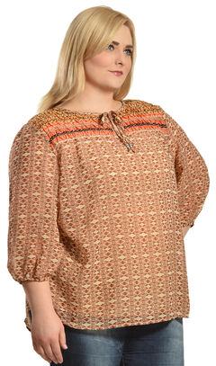 Red Ranch Orange Bohemian Print Tie Blouse - Plus  , , hi-res