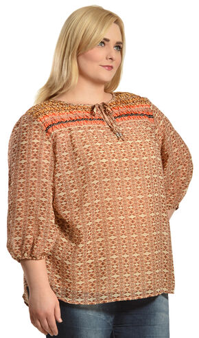 Red Ranch Orange Bohemian Print Tie Blouse - Plus  , Multi, hi-res