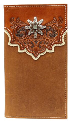 Nocona Tooled Overlay Rowel Concho Rodeo Wallet, Med Brown, hi-res