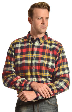 Woolrich Trout Run Navy and Red Plaid Flannel Shirt, Navy, hi-res
